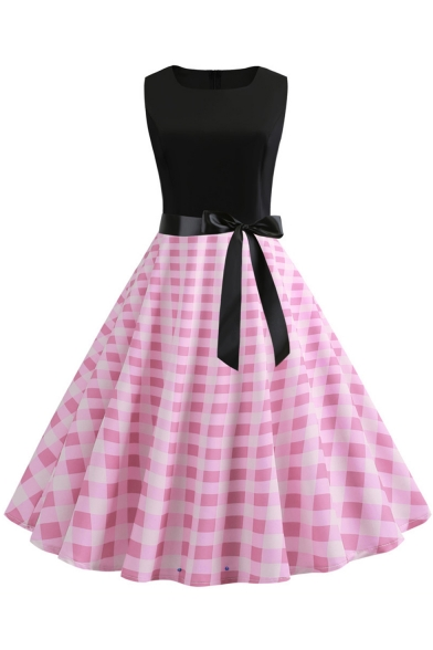 Retro Check Printed Color Block Sleeveless Bow-Tied Waist Midi Fit and Flared Dress