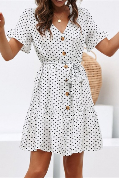Sexy Fashion Polka-Dot Printed V-Neck Short Sleeve Button Front Tied Waist Mini A-Line Chiffon Dress