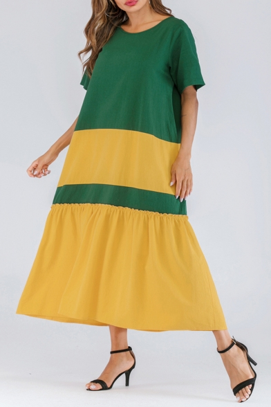 Stylish Color Block Round Neck Short Sleeve Loose Green and Yellow Maxi A-Line Dress