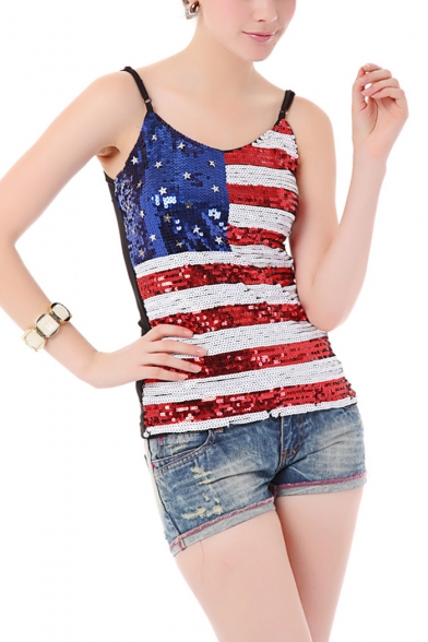 Summer's Spaghetti Straps Flag Printed Sequined Detail Cami Top