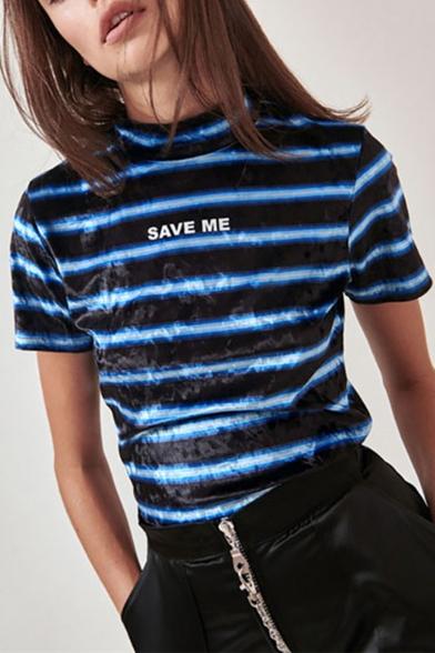 Women's Fashion Stripes Letter SAVE ME Printed Mock Neck Short Sleeve Blue T-Shirt