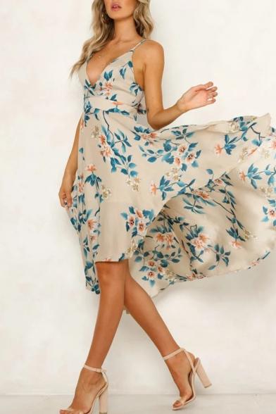 Women's Sexy V-Neck Floral Printed Bow Tied Back Midi Slip Beach Dress