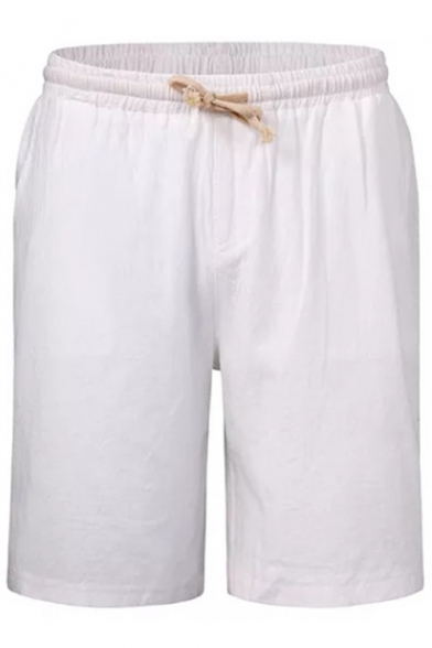 Basic Drawstring Waist Simple Plain Casual Relaxed Linen Beach Lounge Shorts