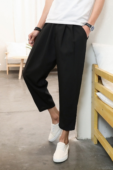 Chinese Style Unique Solid Color Relaxed Fit Cropped Carrot Pants for Men