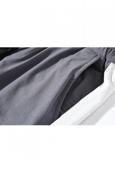 Guys Striped Side Drawstring-Waist Casual Cotton Summer Beach Sport Shorts