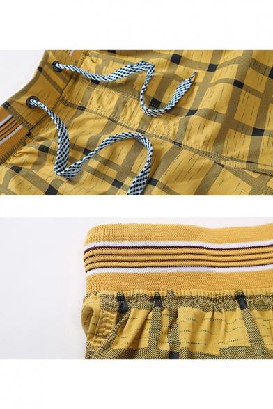 Guys Summer Trendy Plaid Pattern Drawstring Waist Cotton Leisure Beach Shorts