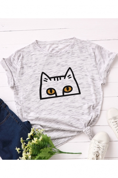 Lovely Cat Pattern Short Sleeve Round Neck Cotton T-Shirt for Women