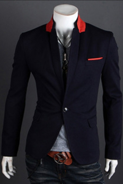 Men's Casual Long Sleeve Lapel Collar Single Button Slim Fitted Blazer Suit