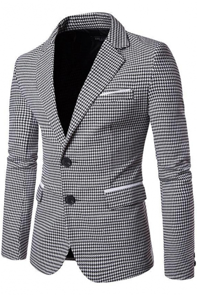 Men's Fashion Houndstooth Printed Double Button Long Sleeve Notched Lapel Collar Blazer Suit with Pockets