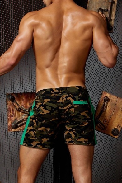 Men's Hot Popular Camouflage Printed Tape Patched Side Drawstring Waist Swim Trunks
