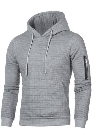 Mens New Trendy Simple Plain Zip Embellished Long Sleeve Padded Lattice Slim Fit Hoodie