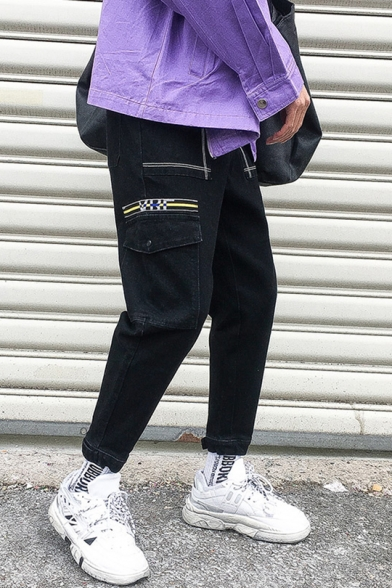 Mens New Trendy Summer Black Cotton Loose Fit Tapered Cargo Trousers