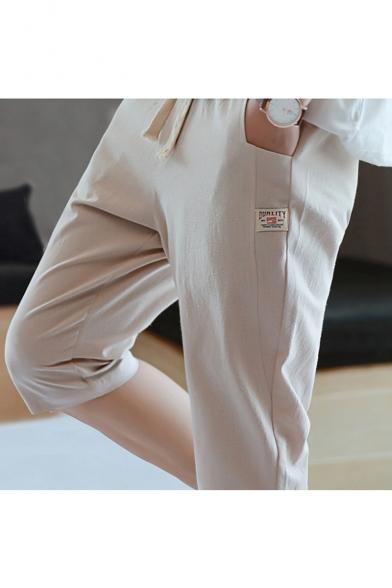 Mens Summer Comfort Cotton Drawstring Waist Simple Plain Loose Casual Cropped Lounge Pants