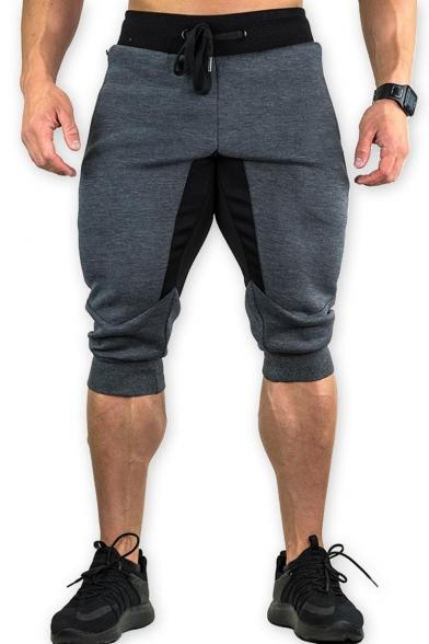 Popular Drawstring-Waist Zip Embellish Mens Sport Running Stretch Sweat Shorts