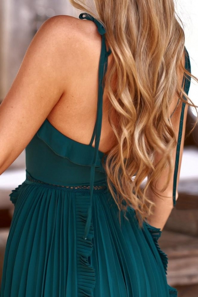 Sexy V-Neck Sleeveless Hollow Out Ruffle Details Plain Midi Cami Pleated Dress