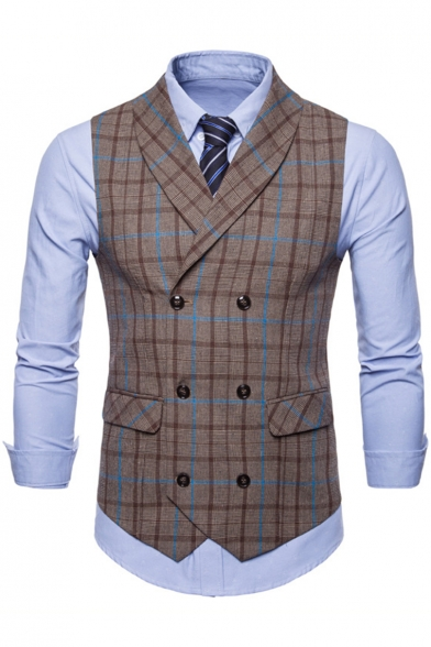 Stylish Plaid Printed Double Breasted Casual Suit Vest for Men