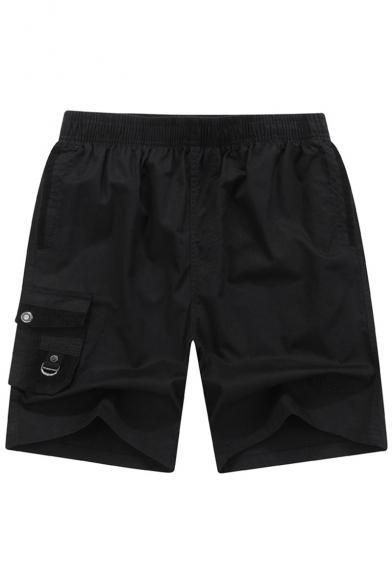Summer Basic Simple Plain Elastic Waist Straight Fit Beach Loose Fit Shorts
