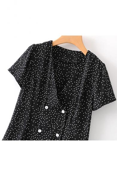 Summer Fashion Polka-Dot Printed V-Neck Short Sleeve Double-Breasted Mini A-Line Dress