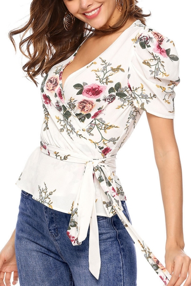 Summer Puff Sleeve Wrap V-Neck Floral Printed Tied Waist White Chiffon Blouse