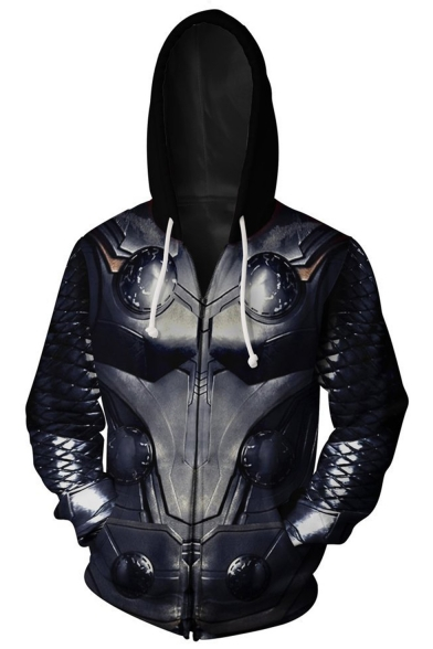 3D Pattern Cosplay Costume Long Sleeve Zip Up Loose Fit Drawstring Hoodie