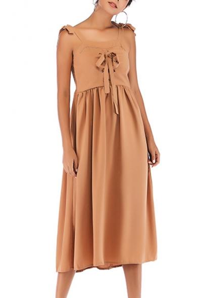 Trendy Bow-Tied Straps Lace-Up Camel Midi A-Line Chiffon Dress