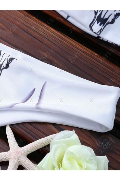 Women's Fashion Cattle Head Pattern Sleeveless White Bikini Swimwear