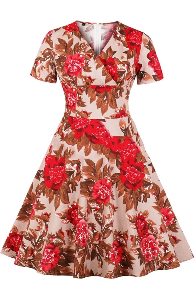 Women's Summer V-Neck Short Sleeves Allover Floral Pattern Mini A-Line Dress
