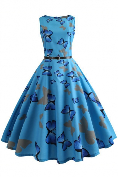 Blue All Over Butterfly Pattern Sleeveless Belt Waist Midi A-Line Flared Dress