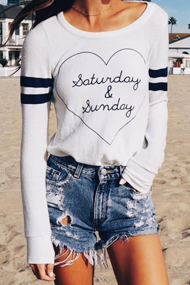 Cool Letter Heart Striped Print Round Neck Long Sleeve Hollow Out Back Casual White T-Shirt
