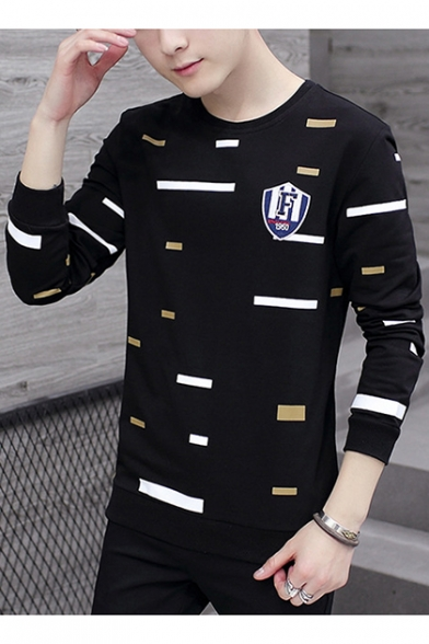 Guys Fashion Irregular Stripe Printed Long Sleeve Round Neck Pullover Sweatshirt