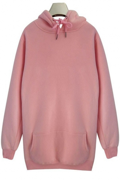 Guys Hip Hop Style Fashion Zip Side Solid Color Long Sleeve Longline Hoodie