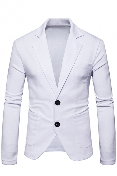 Hot Fashion Solid Double Button Long Sleeve Notched Lapel Casual Mens