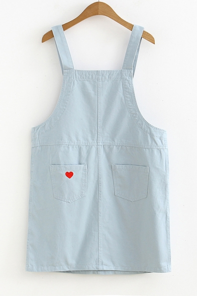 Lovely Students Heart Embroidered Pocket Patched Mini Overall Dress