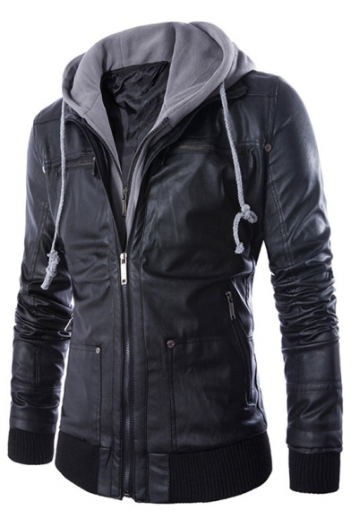 Men's New Trendy Simple Drawstring Hooded Long Sleeve Zip Up Black Leather Jacket