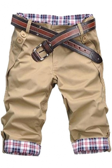 Men's Summer Fashion Plaid Buttons Patchwork Rolled-Cuff Leisure Cotton Shorts