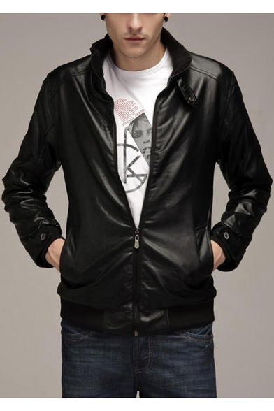 Men's Trendy Band Collar Long Sleeve Zip Placket Slim Leather Jacket Biker Jacket