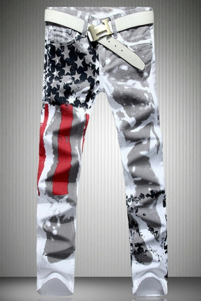 Mens New Fashion American Flag Printed Stretch Slim Fit White Casual Jeans