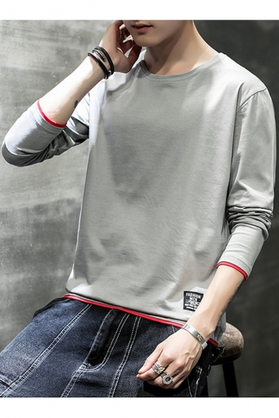 Mens New Stylish Contrast Edge Patchwork Round Neck Long Sleeve Grey Casual T-Shirt