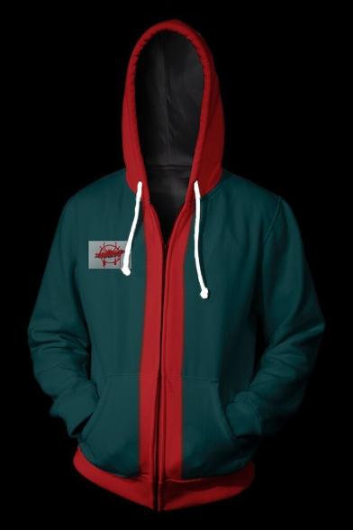 New Trendy Cool Colorblock Long Sleeve Zip Up Cosplay Green Hoodie for Men