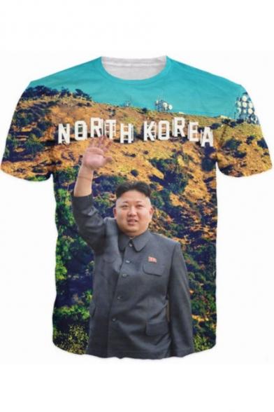 North Korea Kim Jong Un 3D Figure Printed Short Sleeve T-Shirt