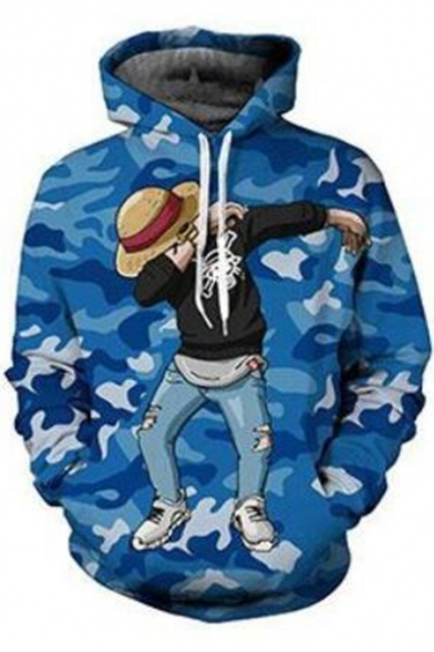 One Piece Cool Comic Luffy Camo Printed Sport Relaxed Pullover Blue Hoodie