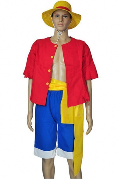 One Piece Luffy Halloween Cosplay Costume Short Sleeve Shirt Blue Shorts Set Co-ords, LC510559