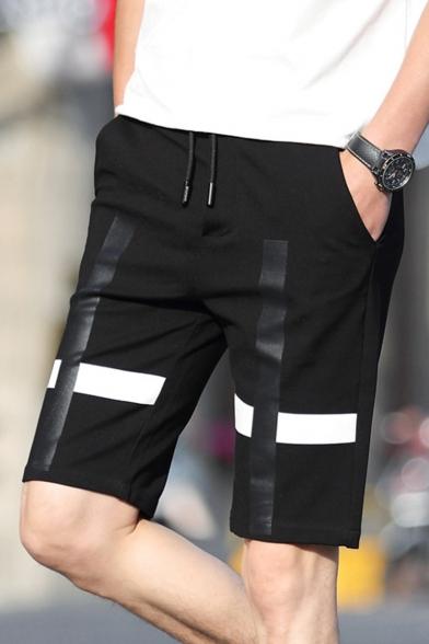 Popular Cross Printed Drawstring Waist Guys Casual Black Sport Shorts