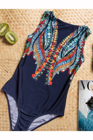 Popular Fashion Tribal Print Sleeveless Navy Beach One Piece Swimwear