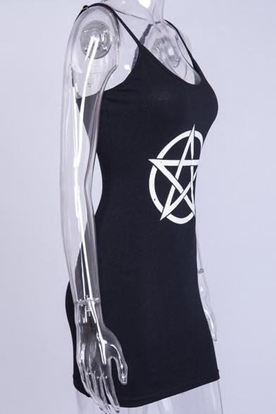 Punk Style Sexy Logo Pattern Black Mini Bodycon Slip Dress for Women