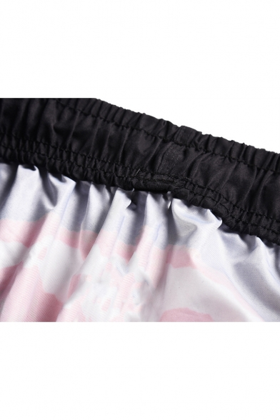 Summer Funny Red Lip Tongue Printed Casual Loose Black Beach Swim Shorts