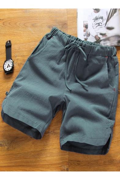 Summer New Trendy Patchwork Drawstring Waist Loose Casual Plain Linen Shorts for Men