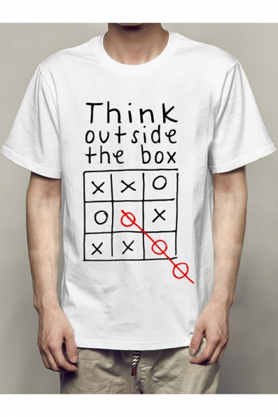 Think Outside the Box Cool Street Letter Print Basic White Graphic T-Shirt