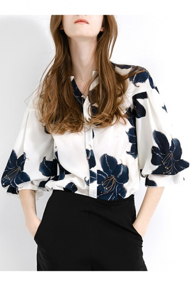 Women's Bishop 3/4 Sleeve Floral Printed Button Front Loose Fit White Chiffon Shirt