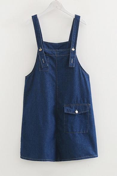 Fashion Plain Straps Big Pockets Loose Mini Overall Denim Dress